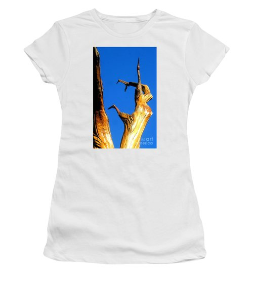 New Orleans Bird Tree Sculpture In Louisiana Women's T-Shirt (Junior Cut) by Michael Hoard