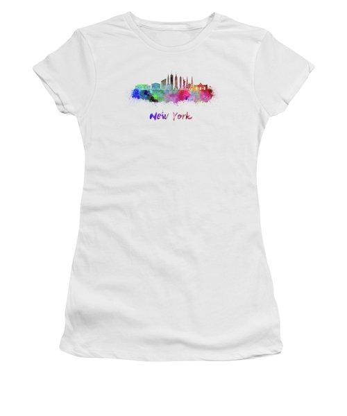 New York Skyline In Watercolor Women's T-Shirt