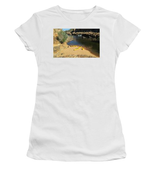 Women's T-Shirt (Junior Cut) featuring the photograph Nitmiluk Gorge Kayaks by Tony Mathews
