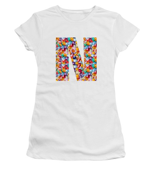 Nnn Nn N  Alpha Art On Shirts Alphabets Initials   Shirts Jersey T-shirts V-neck By Navinjoshi Women's T-Shirt (Athletic Fit)