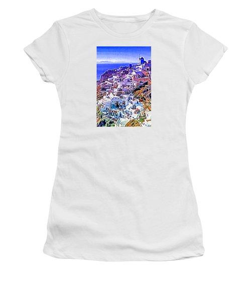 Women's T-Shirt (Junior Cut) featuring the photograph Oia Town On Santorini by Dennis Cox WorldViews