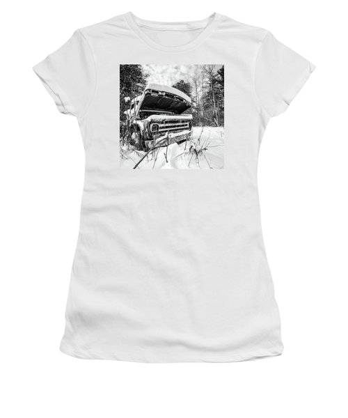 Old Abandoned Pickup Truck In The Snow Women's T-Shirt