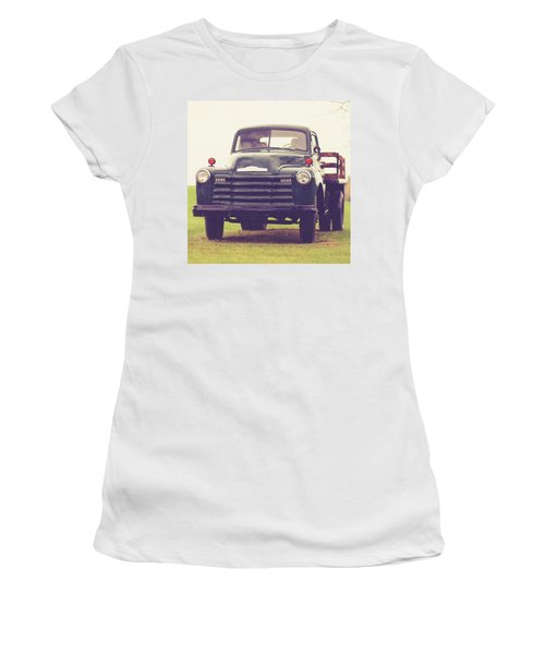 Old Chevy Farm Truck In Vermont Square Women's T-Shirt (Athletic Fit)
