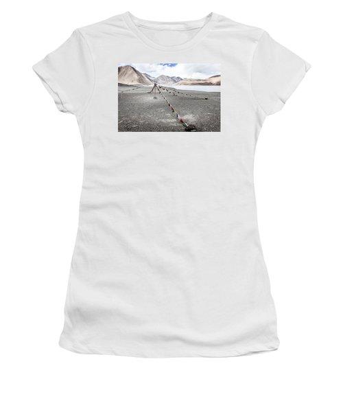 Women's T-Shirt (Junior Cut) featuring the photograph Pangong Tso Lkae by Alexey Stiop