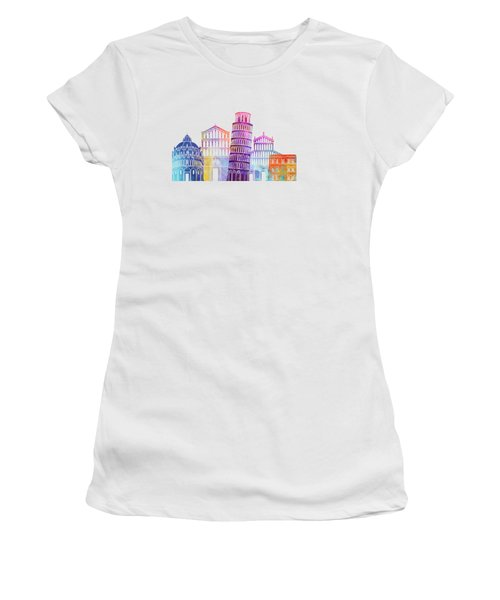Paris Landmarks Watercolor Poster Women's T-Shirt (Athletic Fit)