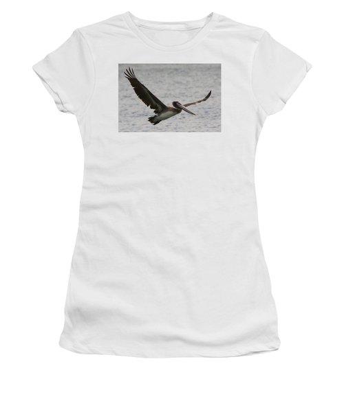 Pelican In Flight Women's T-Shirt (Junior Cut) by Laurel Talabere