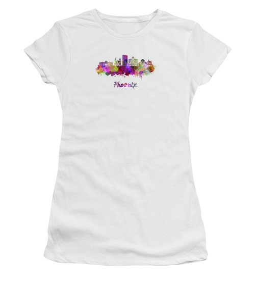 Phoenix Skyline In Watercolor Women's T-Shirt (Athletic Fit)