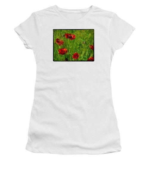 Poppies Women's T-Shirt (Junior Cut) by Hugh Smith