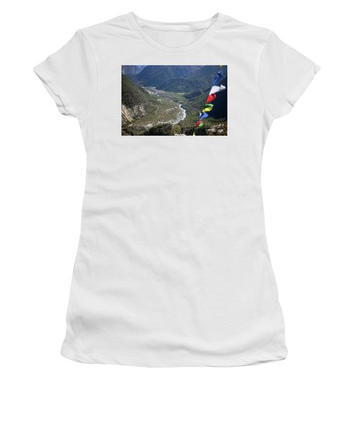 Prayer Flags In The Himalaya Mountains, Annapurna Region, Nepal Women's T-Shirt