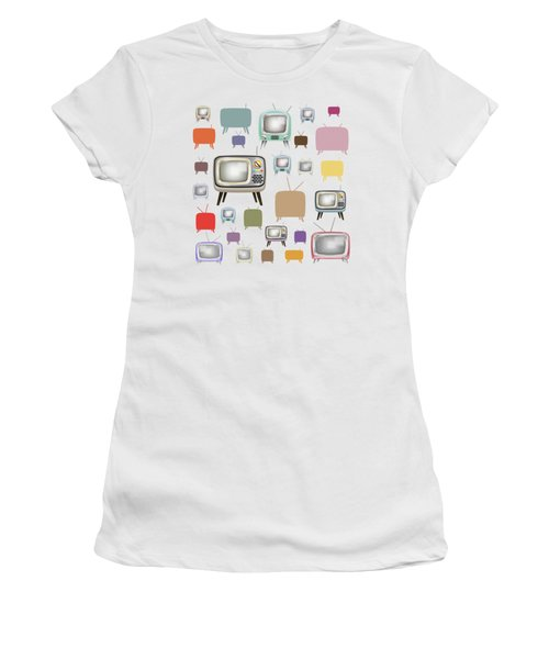 Women's T-Shirt (Junior Cut) featuring the painting Retro T.v. by Setsiri Silapasuwanchai