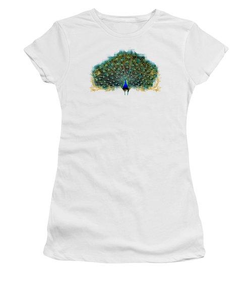 Scroll Swirl Art Deco Nouveau Peacock W Tail Feathers Spread Women's T-Shirt (Junior Cut) by Audrey Jeanne Roberts