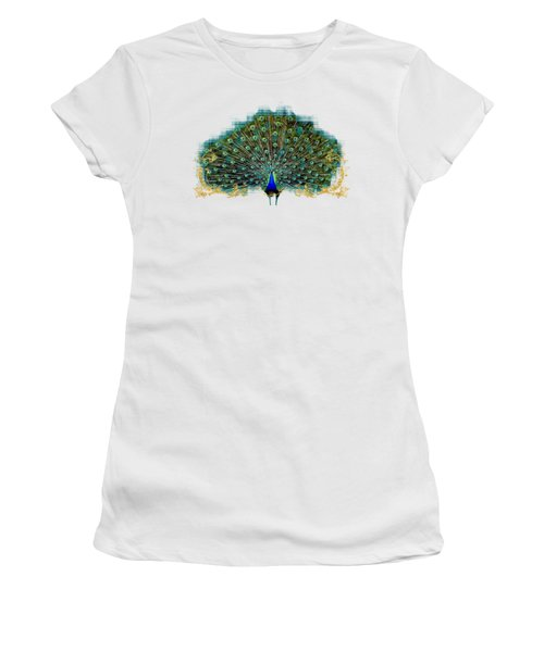 Scroll Swirl Art Deco Nouveau Peacock W Tail Feathers Spread Women's T-Shirt