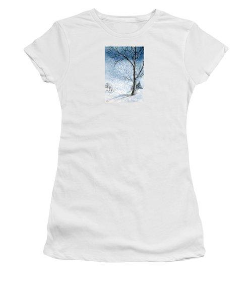 Snowy Night Women's T-Shirt (Junior Cut) by Rebecca Davis
