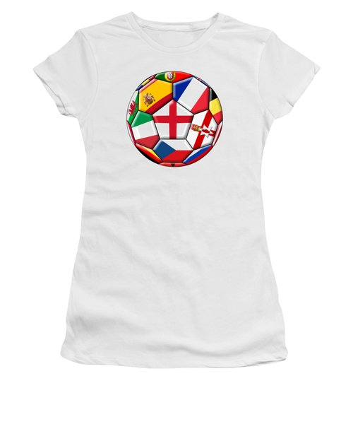 Soccer Ball With Flag Of England In The Center Women's T-Shirt