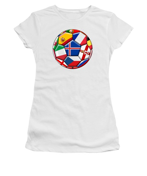 Soccer Ball With Flag Of Iceland In The Center Women's T-Shirt