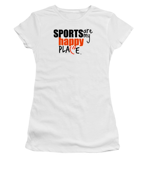 Sports Are My Happy Place Women's T-Shirt (Junior Cut) by Shelley Overton