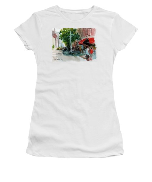 Streetscape With Red Awning - 82nd Street Market Women's T-Shirt (Athletic Fit)