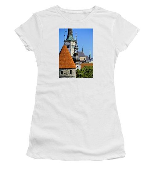 Women's T-Shirt (Junior Cut) featuring the photograph Tallinn Steeples by Dennis Cox WorldViews