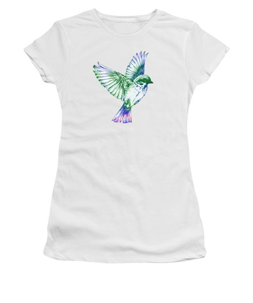 Textured Bird With Changeable Background Color Women's T-Shirt (Junior Cut) by Sebastien Coell