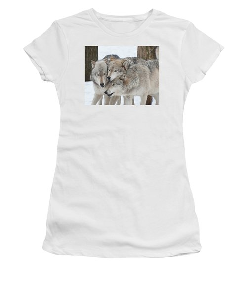 Three Wolves Are A Crowd Women's T-Shirt (Junior Cut) by Gary Slawsky