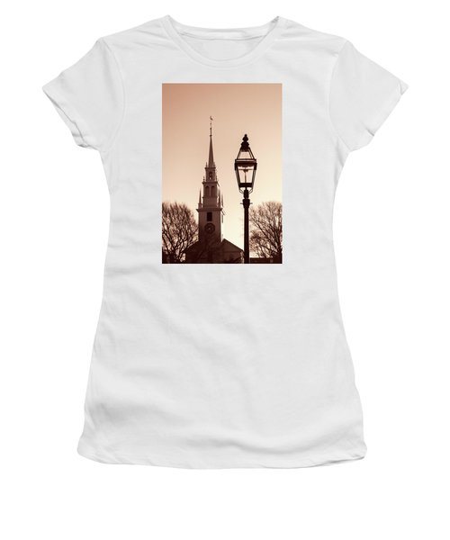Women's T-Shirt (Junior Cut) featuring the photograph Trinity Church Newport With Lamp by Nancy De Flon