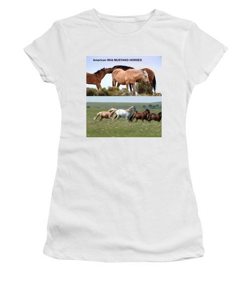 Twin Photos Awesome North American Mustangs Horses Cowboys Photography See On Posters Pillows Curtai Women's T-Shirt (Junior Cut) by Navin Joshi