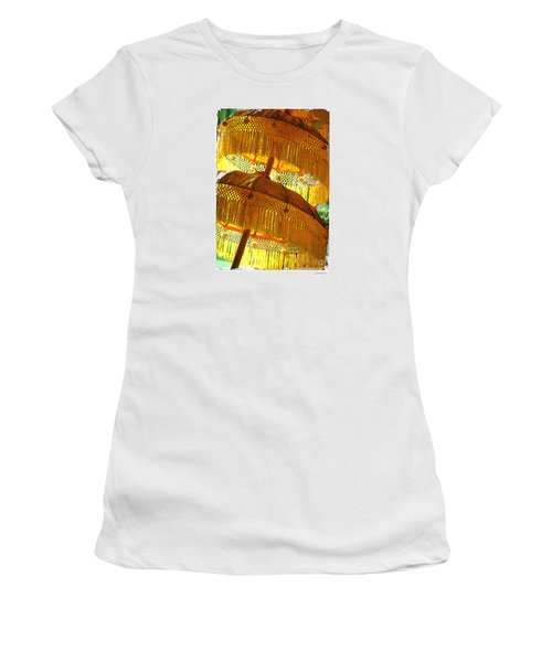 Women's T-Shirt (Junior Cut) featuring the photograph Umbrellas Yellow by Linda Olsen