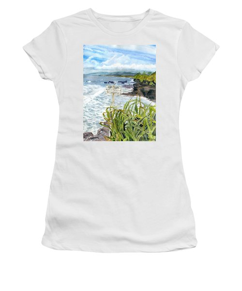 Women's T-Shirt (Junior Cut) featuring the painting View From Tanah Lot Bali Indonesia by Melly Terpening