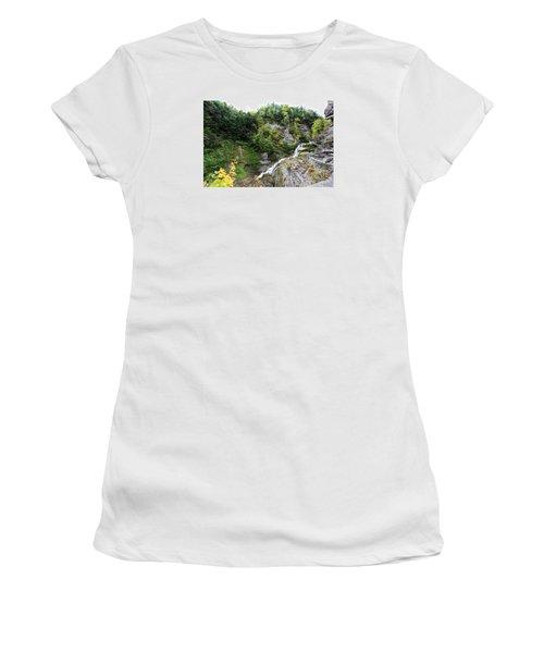 Women's T-Shirt (Junior Cut) featuring the photograph Waterfall At Robert Treman State Park II by Trina  Ansel