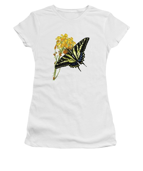 Western Tiger Swallowtail On A Western Wallflower Women's T-Shirt (Athletic Fit)
