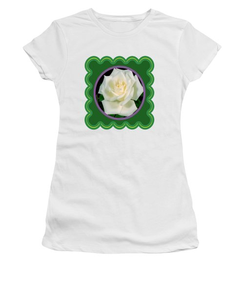 White Rose Flower Floral Posters Photography And Graphic Fusion Art Navinjoshi Fineartamerica Pixels Women's T-Shirt (Junior Cut) by Navin Joshi
