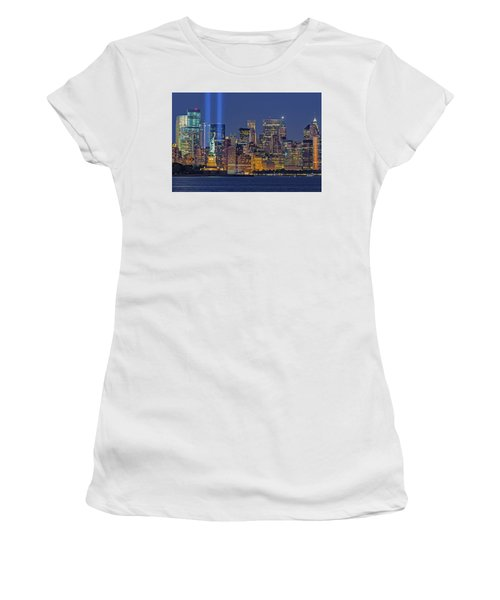 Women's T-Shirt (Athletic Fit) featuring the photograph World Trade Center Wtc Tribute In Light Memorial II by Susan Candelario