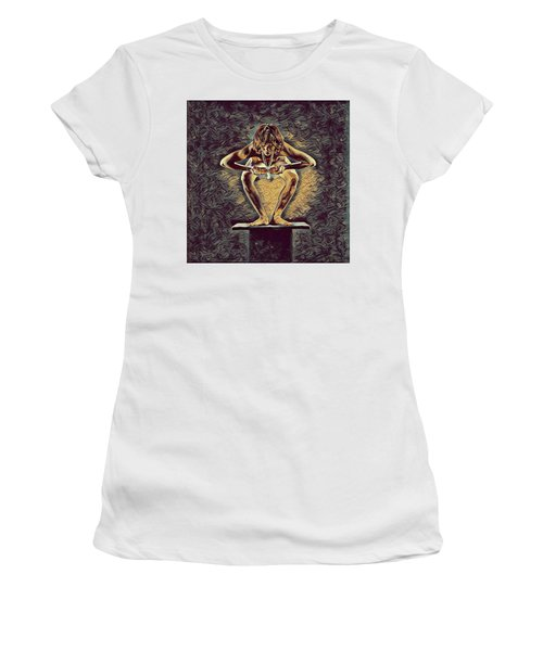 1083s-zac Dancer Squatting On Pedestal With Amulet Nudes In The Style Of Antonio Bravo  Women's T-Shirt (Junior Cut) by Chris Maher