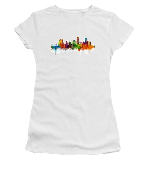 Boston Massachusetts Skyline Women's T-Shirt (Junior Cut) by Michael Tompsett