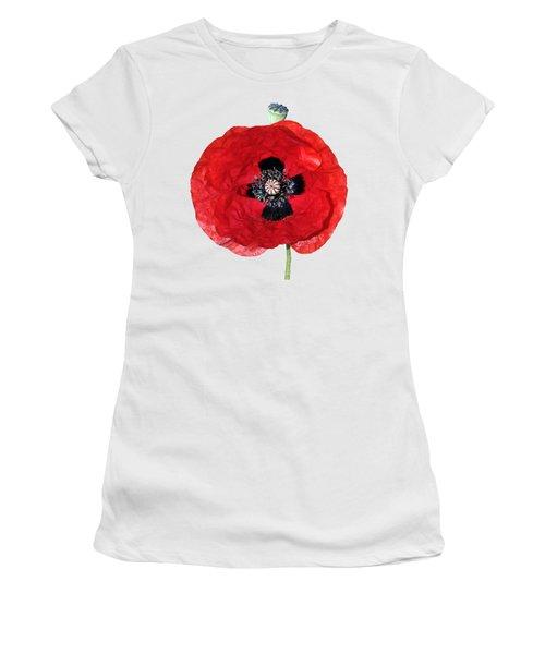 Poppy Flower Women's T-Shirt (Junior Cut) by George Atsametakis