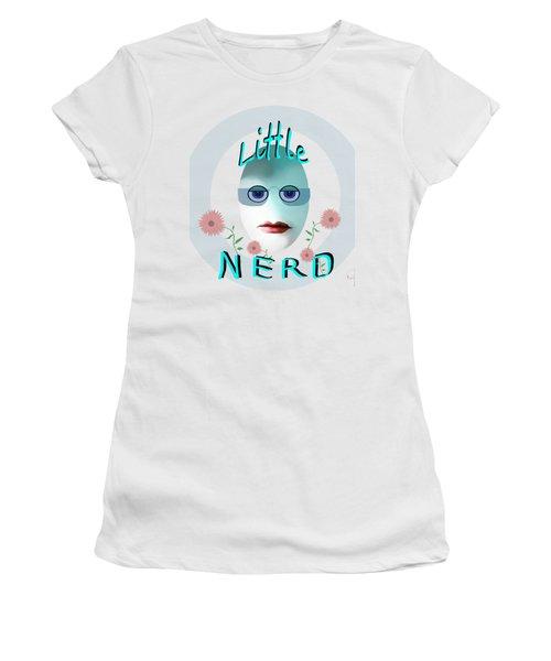 Women's T-Shirt (Junior Cut) featuring the painting 1283 - Little Nerd Tshirt Design by Irmgard Schoendorf Welch