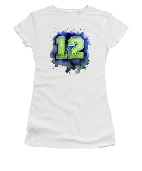 12th Man Seahawks Art Seattle Go Hawks Women's T-Shirt (Junior Cut) by Olga Shvartsur