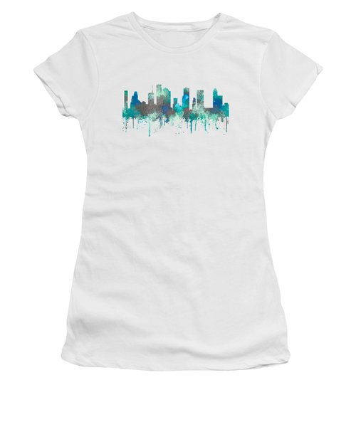 Women's T-Shirt (Junior Cut) featuring the digital art Houston Texas Skyline by Marlene Watson