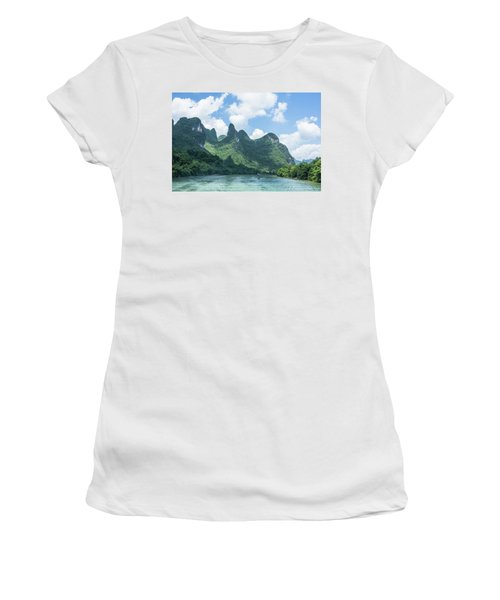 Lijiang River And Karst Mountains Scenery Women's T-Shirt