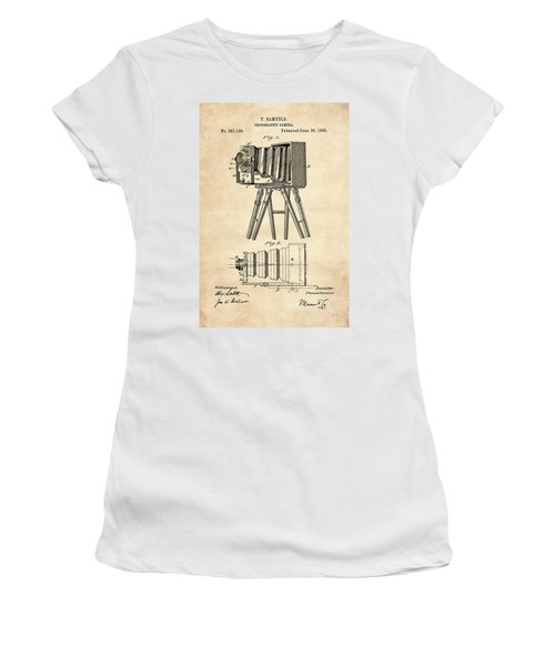 1885 Camera Us Patent Invention Drawing - Vintage Tan Women's T-Shirt