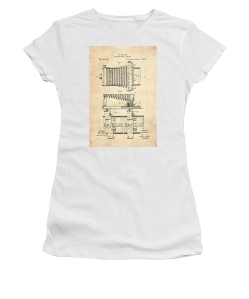 1897 Camera Us Patent Invention Drawing - Vintage Tan Women's T-Shirt