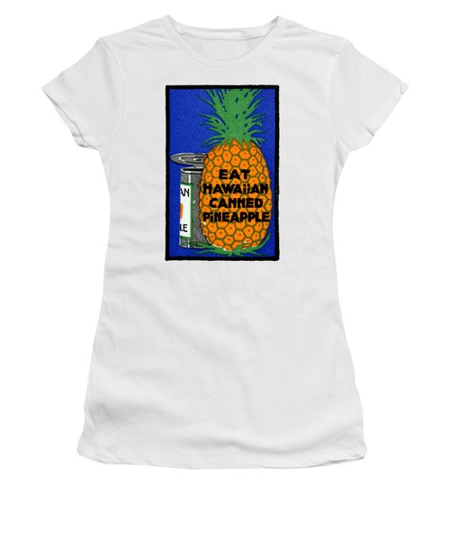 1915 Eat Hawaiian Pineapple Poster Women's T-Shirt (Athletic Fit)