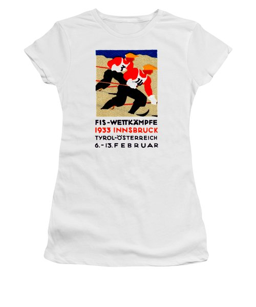 1933 Austrian Ski Race Poster Women's T-Shirt (Athletic Fit)