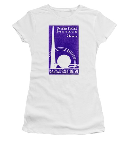 1939 New York Worlds Fair Stamp Women's T-Shirt (Junior Cut) by Historic Image