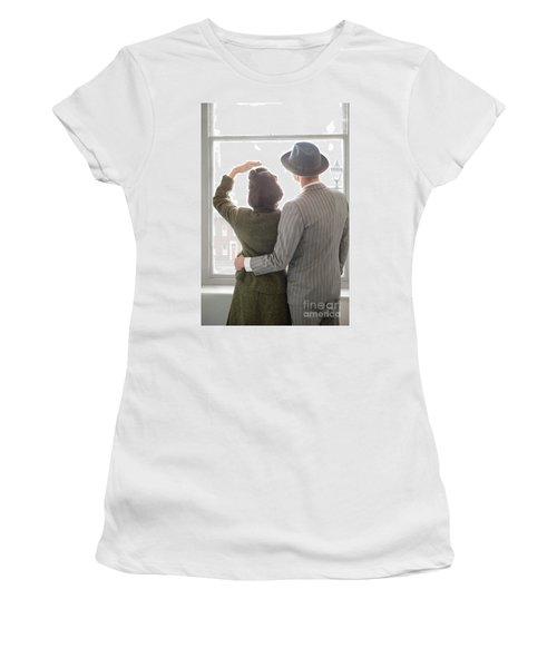 1940s Couple At The Window Women's T-Shirt (Junior Cut) by Lee Avison
