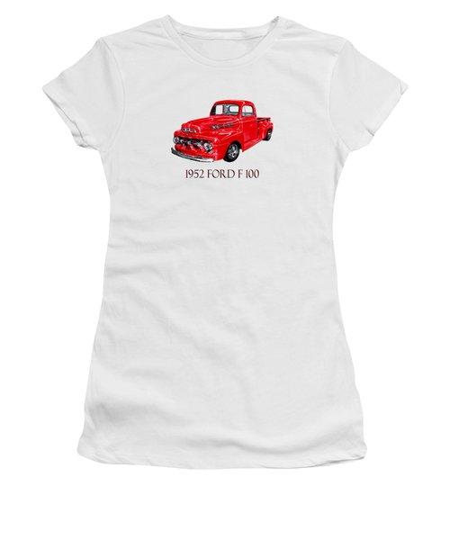 Big Red 1952 Ford F-100 Pick Up Women's T-Shirt (Junior Cut) by Jack Pumphrey