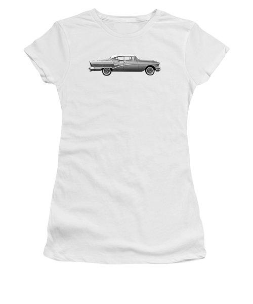 1958 Buick Roadmaster 75 In Black And White Women's T-Shirt