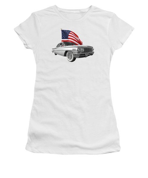 Women's T-Shirt (Junior Cut) featuring the photograph 1960 Oldsmobile With Us Flag by Gill Billington