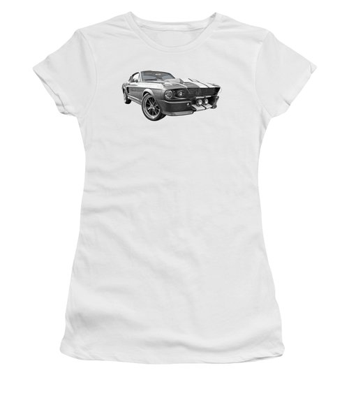 1967 Eleanor Mustang In Black And White Women's T-Shirt