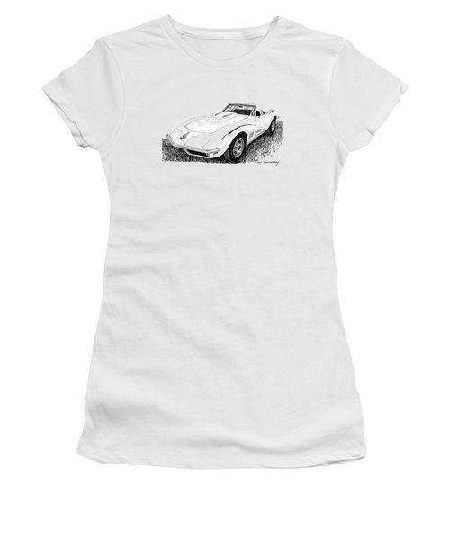 1968 Corvette Women's T-Shirt (Junior Cut) by Jack Pumphrey